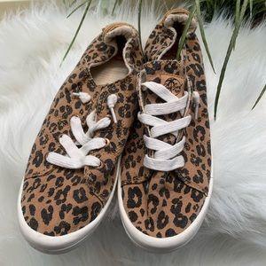 Roxy Rory cheetah print slip on sneakers